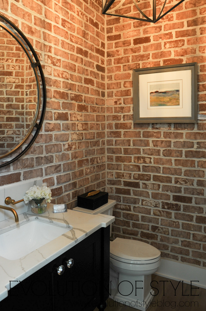 2018 Homearama Modern Farmhouse Tour - Exposed brick powder room