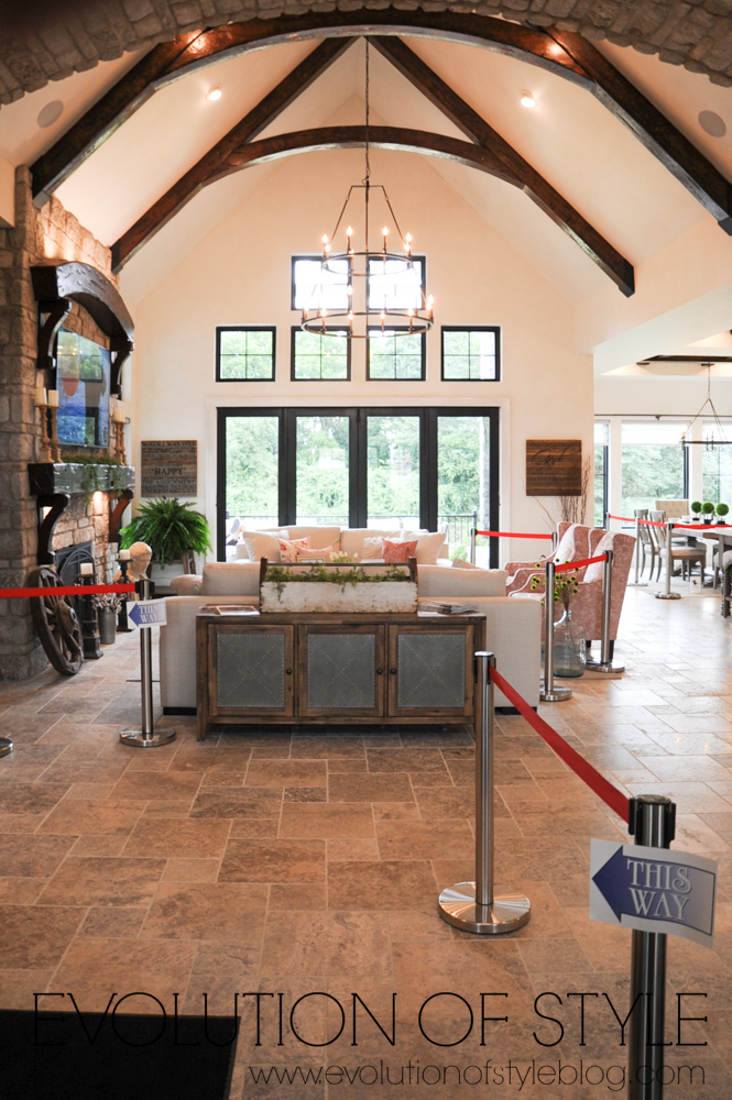 Modern farmhouse interior with beamed ceiling