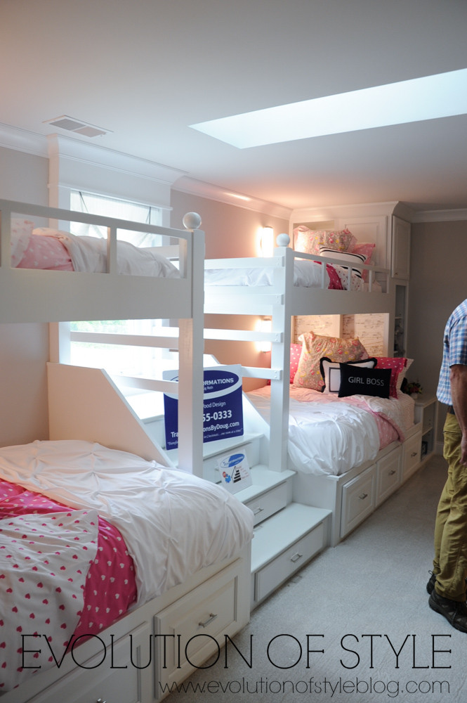 Girl's room with built-in bunk beds