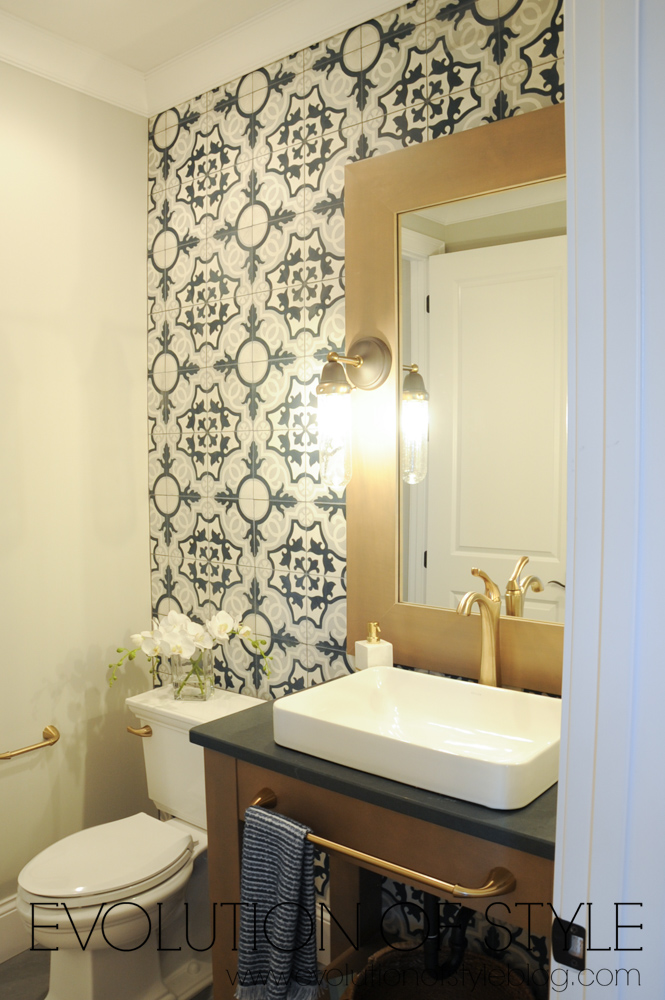 Bathroom with cement tile wall