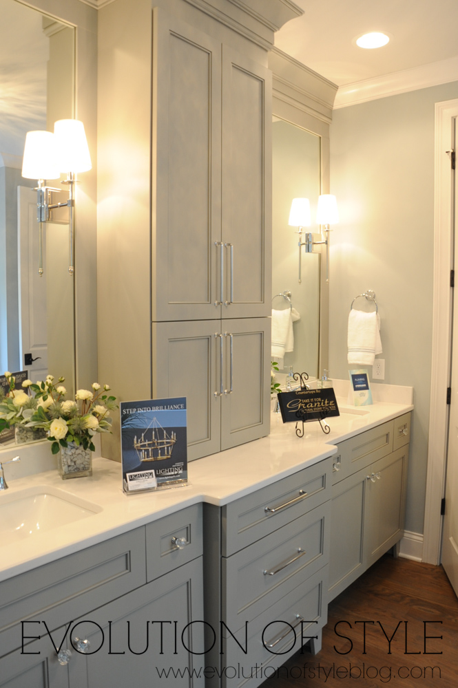 Master bathroom with gray cabinets