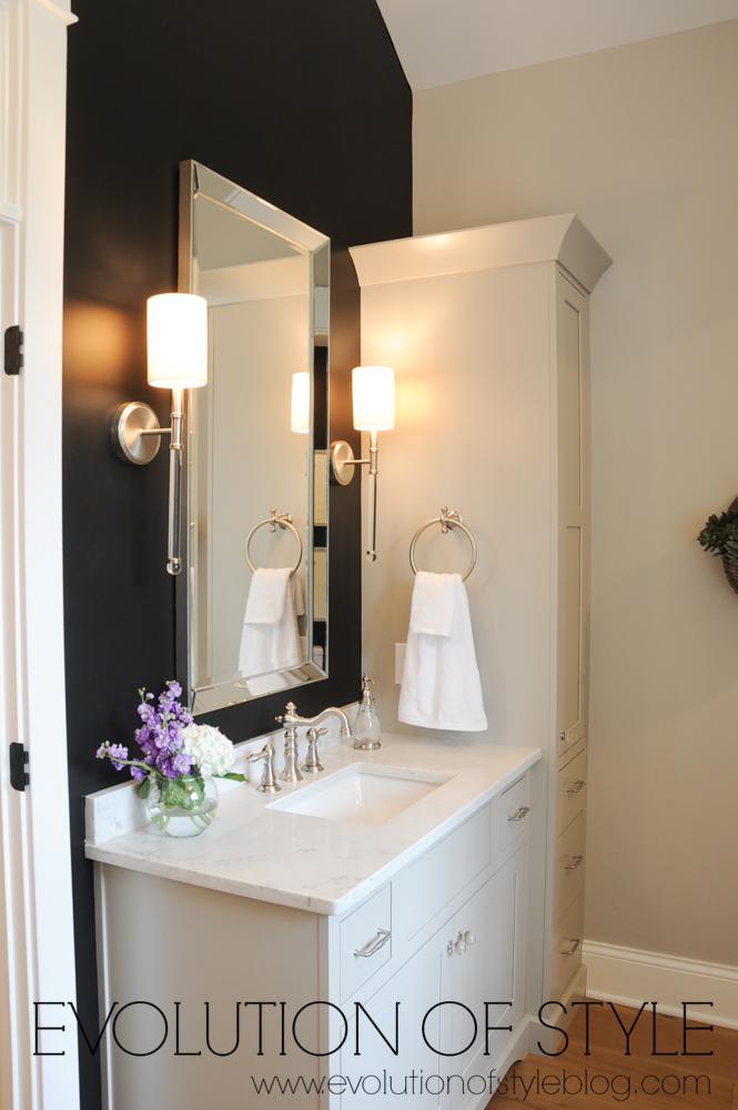 Master bathroom greige cabinets