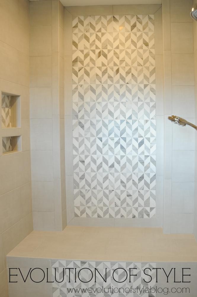 Master bathroom with tiled shower