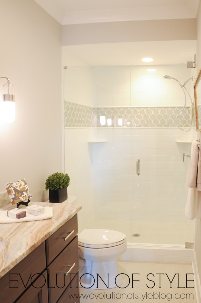 Bathroom with white tile and detail
