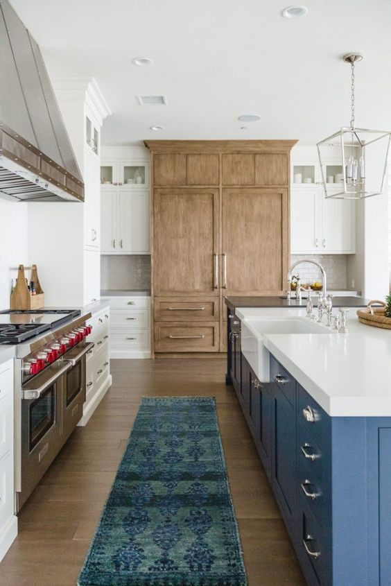 Blue Island Wood and White Cabinets