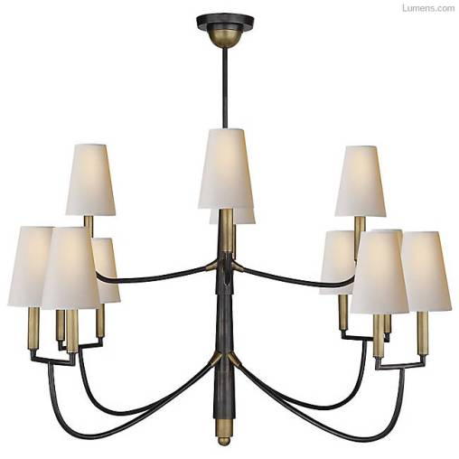 Two tiered brass chandelier