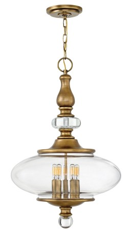 Brass Pendant with Oval Glass