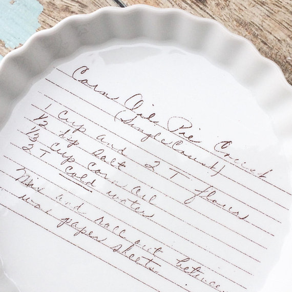 Handwritten recipe platter