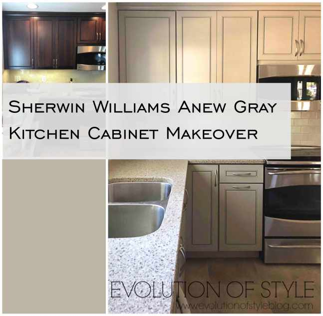Sherwin Williams Anew Gray Kitchen Cabinet Makeover Before/After