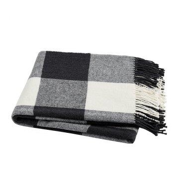Black and White Buffalo Plaid Throw Blanket