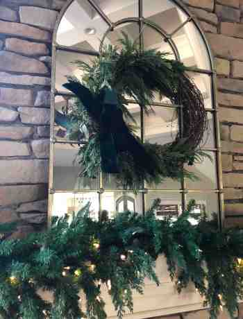 Grapevine Wreath with Evergreen for Christmas