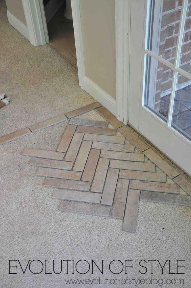 Installing a brick tile floor - herringbone pattern