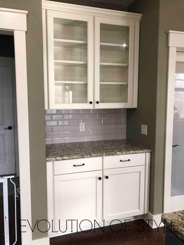 Grand Teton White Glass Cabinets