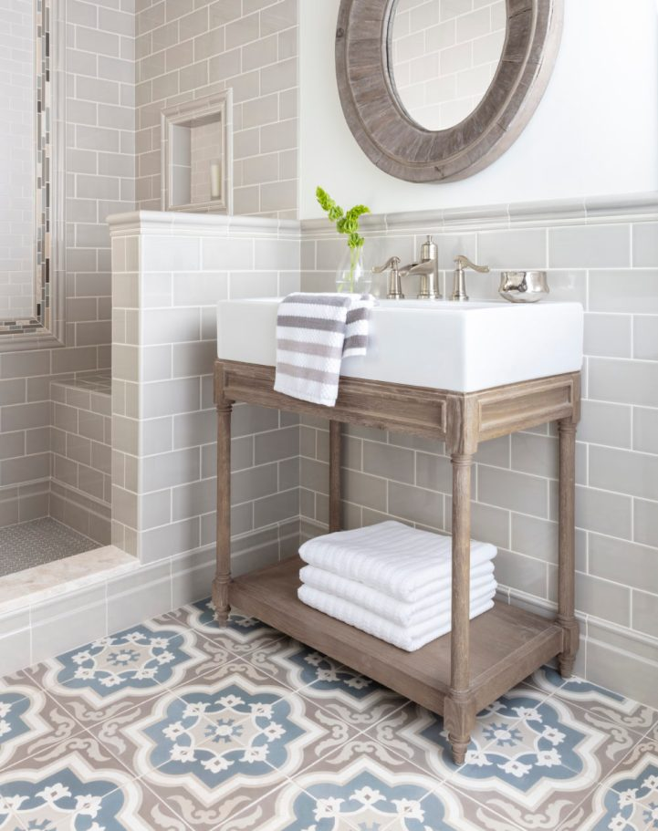Subway Tile Ideas - Subway tile with patterned cement tile floor