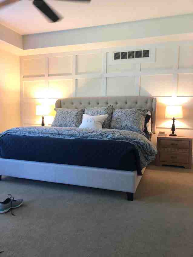 Master Bedroom with Tufted Headboard and Pottery Barn Bedding