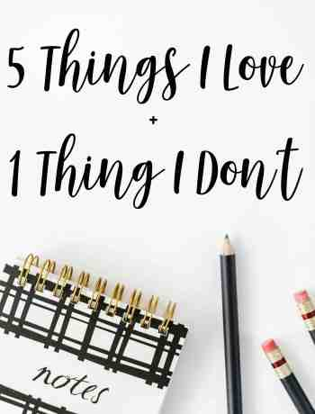 Friday 5+1 (5 Things I Love + 1 Thing I Don't)
