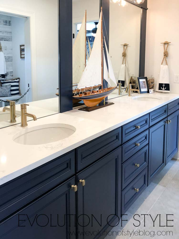 2019 Homearama Day Five - The Nantucket - Navy Blue Jack and Jill Bathroom