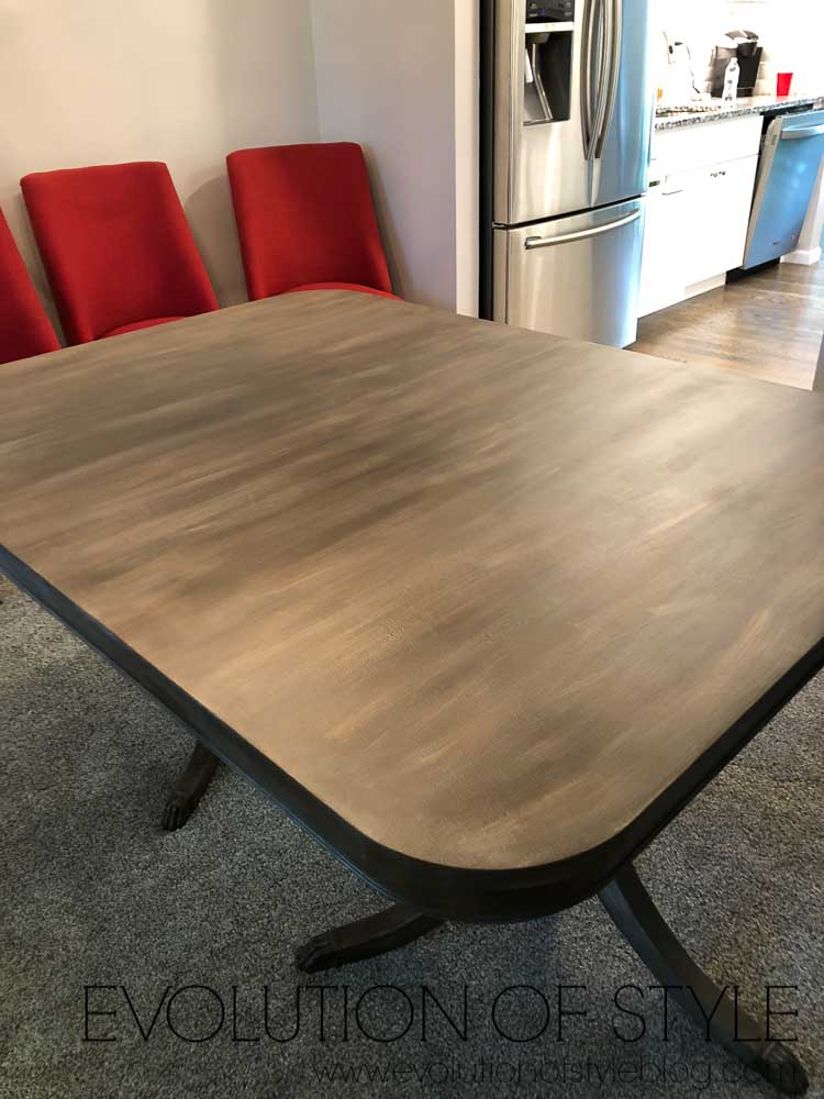 Faux Finished Wood Look Dining Table Makeover
