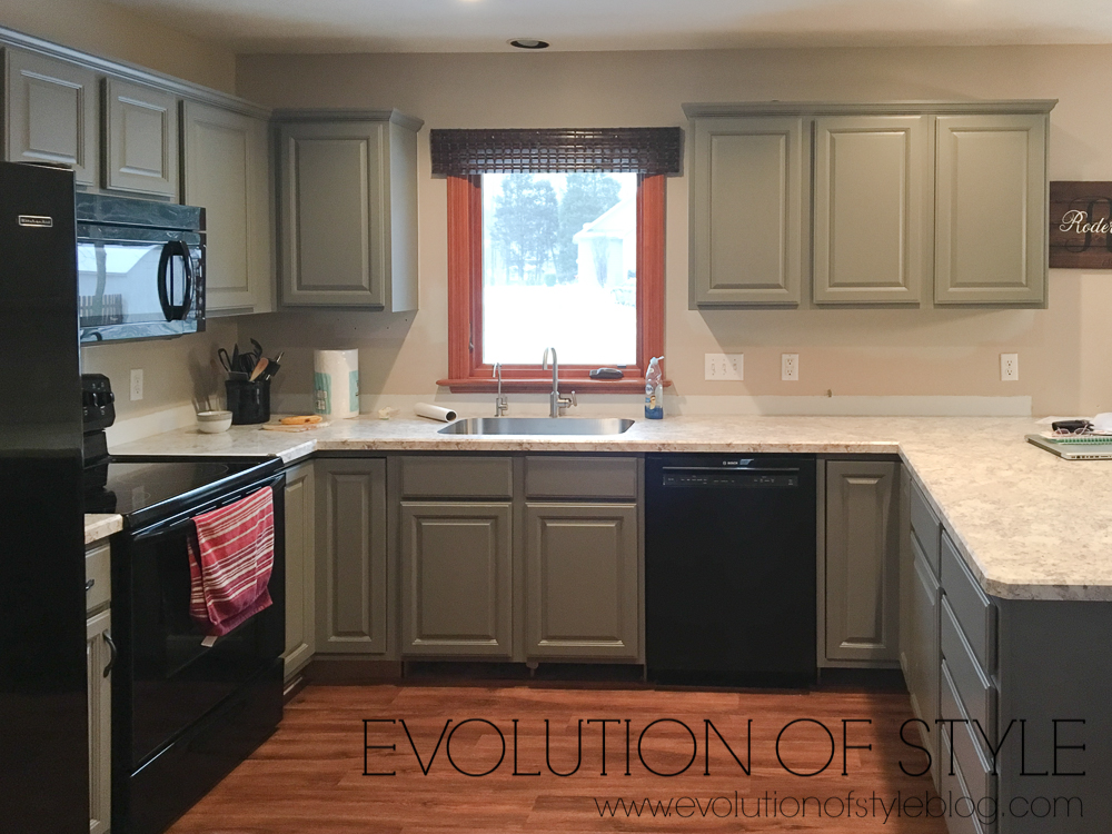 Sherwin Williams Dorian Gray Cabinets Before and After