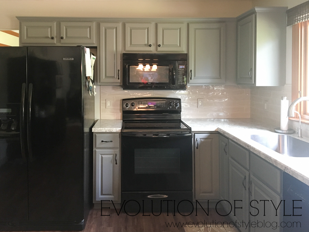 Sherwin Williams Dorian Gray Painted Kitchen Cabinets