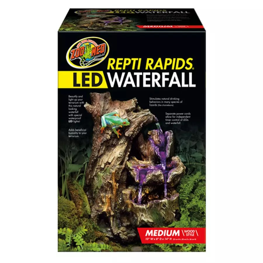 Zoomed Repti Rapids Led Waterfall Medium Wood Evolution