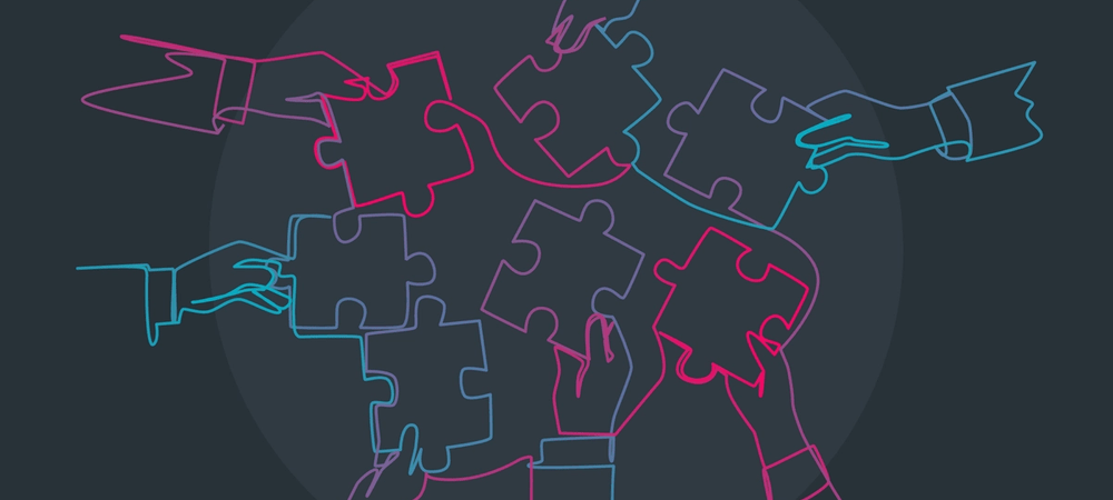 Image is a graphic of drawn hands with puzzle piece outlines and they are all trying to connect, just as Evolution Wellness is working to hire for licensed therapist jobs in Wilmington, NC. They are hiring for mental health clinician jobs and counseling jobs in the area. 28411 | 28412 | 28451