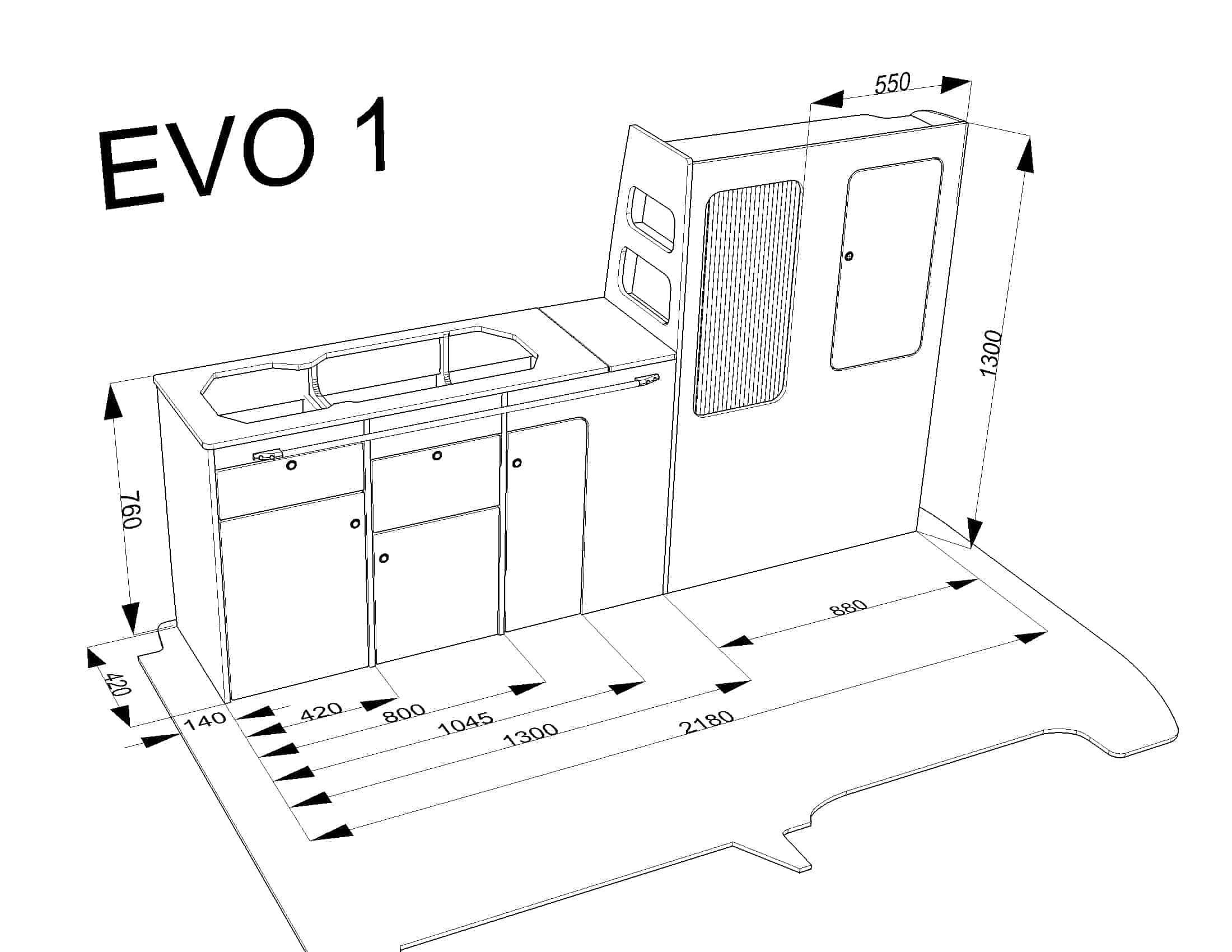 Evo 1 0 Vw Swb Van Straight Worktop