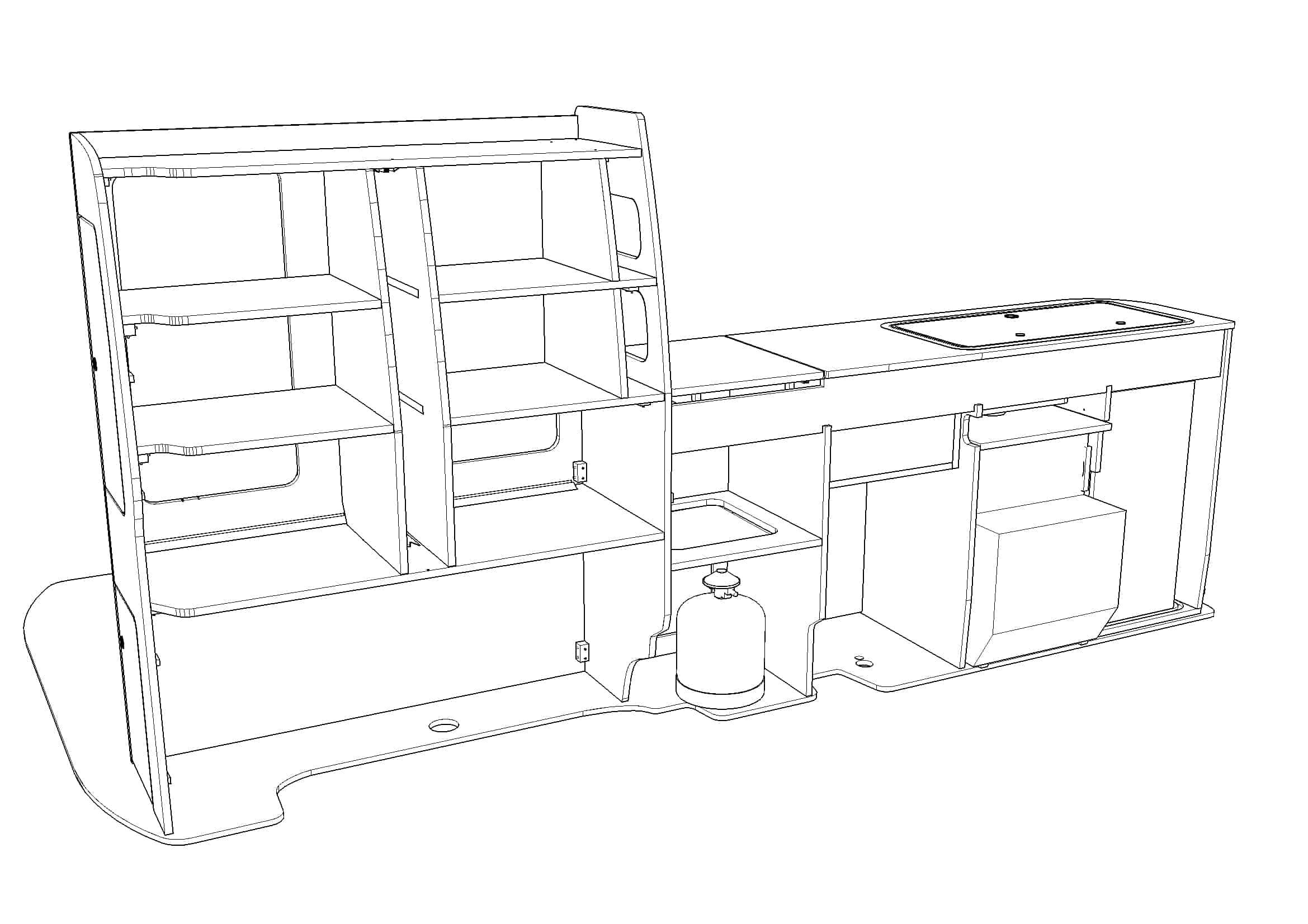 Evo 5f Vw Lwb Curved Kit Front Loading Fridge Front