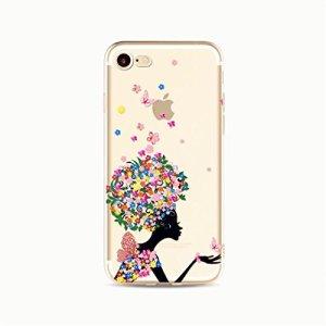 Coque pour iphone 7 Plus(5.5) KSHOP Cas Cover en Silicone TPU Transparent Antichocs Anti-rayures Bumper Modif Peint Elégant- Fleur Ailes Papillon Fille Floral