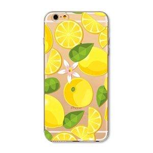 KSHOP Coque iphone 6 Plus/iphone 6s Plus (5.5) Ultra Mince Crystal Transparent TPU en Souple Silicone Anti-Rayures Modifs Peints – Citron Lemon Slices Petit Fleur