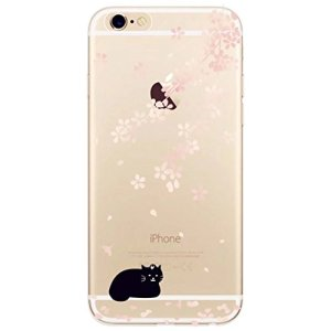 KSHOP Etui pour iphone 7 (4.7) Case Cover TPU en Souple Silicone Ultra Mince Shock Absorption Coque Transparente Bumper Modif Peint – Chat Noir, Fleur