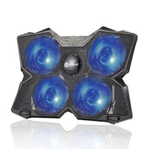 iClever IC-LC01 Refroidisseurs PC Portable pour 15,6-17 Pouces Ventilateur Ordinateur Portable, équipé de 4 Ventilateurs Rétro-éclairage LED Bleu-Noir