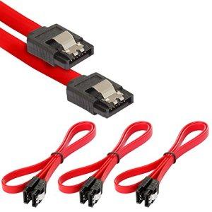 Poppstar 3x Câble SATA 3 HDD SSD, câble de données haut de gamme avec fiche clip droit, jusqu'à 6 Go/s, longueur 0,5 m, rouge