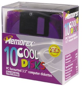 Memorex MF2HD 8,9cm pc-formatted haute densité disquette Disques avec boîte fichier (couleurs, 10) Projecteur (par le fabricant)
