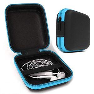 Lucklystar® Sac pour écouteurs Housse de Carré Design Sac Pochette Couvre Boîte Portable Pour écouteurs Clés1PCS(Bleu)