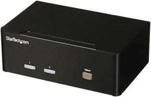 Switch KVM USB double VGA à 2 ports – Commutateur écran clavier souris avec hub USB 2.0 à 2 ports et audio