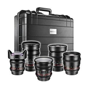 Walimex Pro VDSLR Fullframe Shooter Objectif vidéo pour Nikon (INCL. 14mm de Lens, 24mm, 35mm, 50mm, 85mm et étui de Protection) Noir