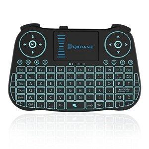 DQiDianZ (AZERTY) Mini Clavier sans Fil 2.4G rétro-éclairé Touchpad Clavier gamer de souris wireless pour Multimédia Android Smart TV Box PC – Noir-Version français