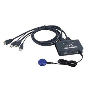 HD commutateur KVM 2Ports HDMI Switch Ordinateurs USB Mouse Keyboard Switch 2automatiquement dans Une Prise en Charge: pour Windows 98/ME/2kp4/XP/2003, Linux, Apple, Mac Button Models