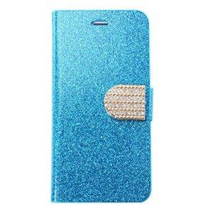 SODIAL Housse en cuir PU en cristal populaire bling luxe pour Samsung S4 i9500- Bleu