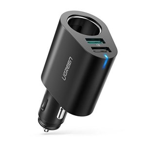 UGREEN 90W Quick Charge 3.0 Chargeur Rapide Voiture Allume Cigare USB 5V 2,4A Compatible avec Samsung S9 S8 A8 Huawei P20 iPhone XS Max XR iPad GPS Transmetteur FM Caméra de Voiture