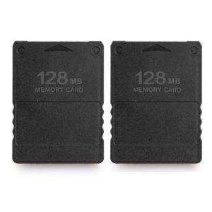 2 x Carte Mémoire Memory Card 128Mo Noir pour Console PS2 Playstation2
