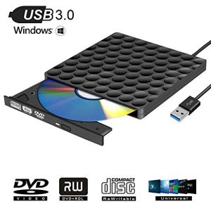 Graveur DVD Externe USB 3.0 Lecteur CD/DVD Portable CD DVD +/-RW ROM Graveur Ultra Slim Compatible Windows 10/8 / 7 /, Vista, Linux, Mac, Macbook Air/Pro, Apple -Noir