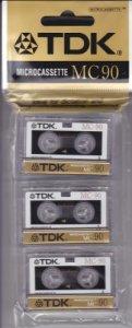 3 MICROCASSETTES AUDIO TDK MC90 (90 minutes)