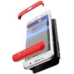 JAWSEU Coque Compatible avec Samsung S8 Plus,Ultra Mince 3 en 1 Rigide PC Étui Housse Hard Case 360 Degrés Full Body Verre tempéré Tempered Film Protection complète Bumper Case,Rouge Noir