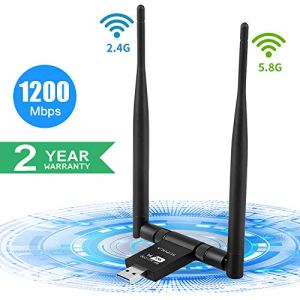 SUPOLA WiFi Adaptateur 1200Mbps, WiFi USB 3.0 Clé WiFi Dongle 5dBi Dual Band 5G 867Mbps+2.4G 300Mbps,Wireless Adaptateur pour PC/Laptop,Antenne WiFi pour Windows7/8/10/XP/Vista/MacOSX10.6-10.14
