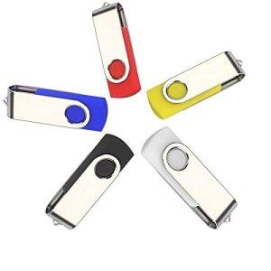 Anloter – Lot de 5 clés USB à capuchon rotatif 32 Go
