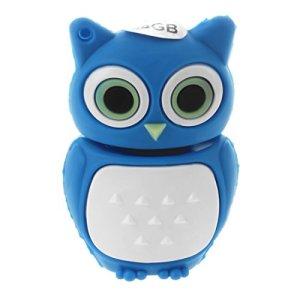 Cikuso 64GB USB 2.0 Baton de Memoire Flash Stylo Lecteur Cle Forme de Hibou Bleu