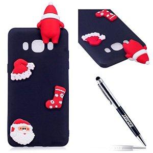 JAWSEU Coque Étui Samsung Galaxy J7 2016 Transparent Silicone,3D Créatif Ultra Mince Soft TPU Coque Belle Cerf de Flocon de Neige de Noël Christmas Snowflake Coque de Protection