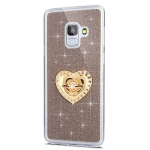 JAWSEU Samsung Galaxy J6 2018 Coque Etui Silicone TPU, Glitter Bling Strass Diamant Support de Bague de Stand,Luxe Mode Sensation de Matte Cristal Clair Brillant Soft TPU Bumper Case